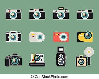 foto, vetorial, câmera, apartamento, ícones