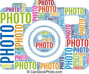 foto, vetorial, câmera