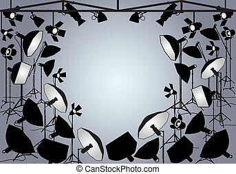 foto, vetorial, luzes estúdio
