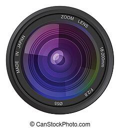 foto, vettore, lente macchina fotografica