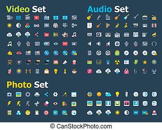 foto, video, und, ton, ikone, satz