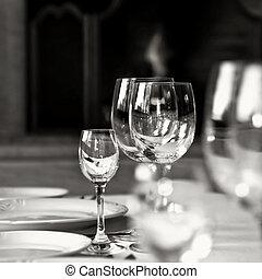 foto, vidrio, negro, tabla, blanco, copas