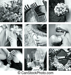 foto, vit, svart, bröllop