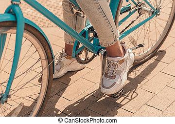 foto, voet, fiets, pedaal, informatietechnologie, liggen