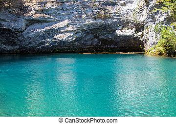 foto, von, blauer see, und, höhle