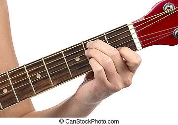 foto, von, frau, finger, auf, gitarre