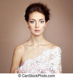 foto, von, schöne , junger, woman., weinlese, stil
