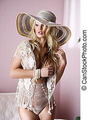 foto, von, sexy, schöne , blond, frau, tragen, elegant, damenunterwäsche