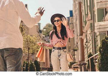 foto, vrouw, anderen, straat, groet, man, liggen, elke