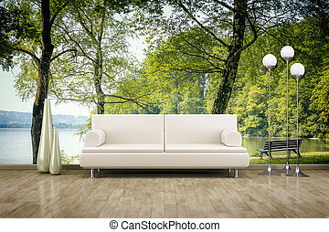 foto, wand, wandgemälde, sofa, boden