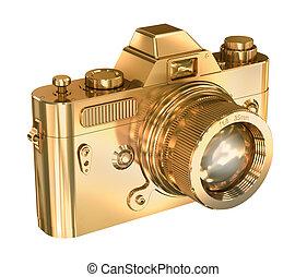 foto, weißes, fotoapperat, hintergrund, gold