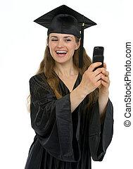 foto, zelf, afgestudeerd, telefoon, vervaardiging, meisje, vrolijke