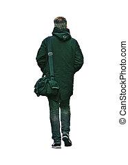 foto, zurück, freigestellt, tasche, tragen, mann, ansicht