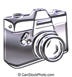 fotoapperat, silber, 3d