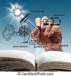 fotoelétrico, celas, de, um, painel solar