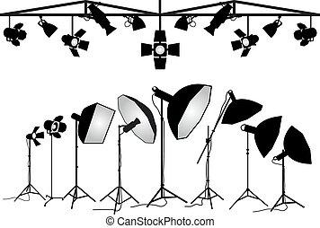 fotográfia, felszerelés, vektor