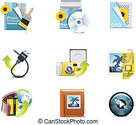 fotográfia, vektor, p.3, icons.