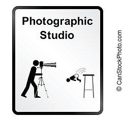 fotográfico, estúdio, informação, sig