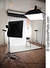 fotográfico, estúdio, interior