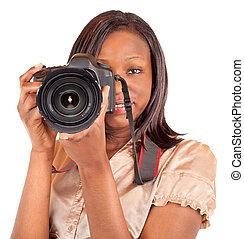 fotograaf, amerikaanse vrouw, afrikaan