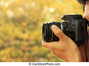fotograaf, boeiend, een, schieten, met, een, digitale camera