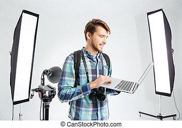 fotograaf, laptop computer, studio, gebruik