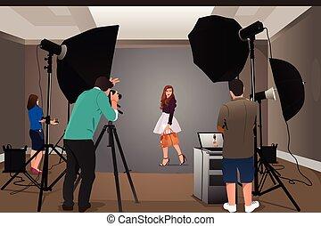 fotograaf, model, schietende