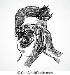 fotograaf, schets, verticaal