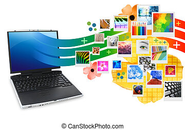 fotografía, computador portatil, con, fotos, proyectar