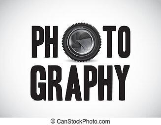 fotografía, con, lente cámara