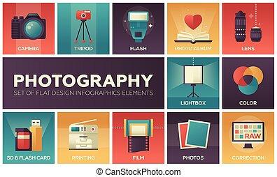 fotografía, -, conjunto, de, plano, diseño, infographics, elementos