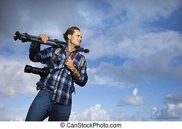 fotografía, equipment., tenencia, hombre