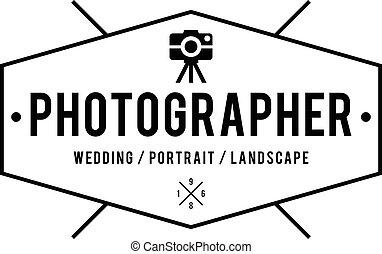 fotografía, etiquetas, retro, insignias