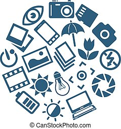fotografía, iconos, en, círculo