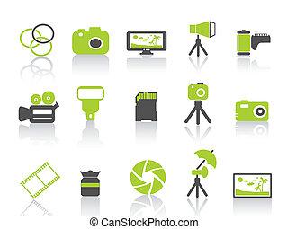 fotografía, serie, verde, icono, elemento