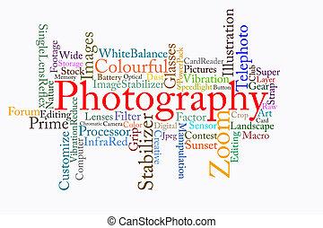 fotografía, texto, nube