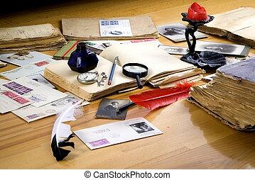 fotografías, libros viejos, vendimia, cartas, vidrio, papel, pluma, aumentar, rojo, postales