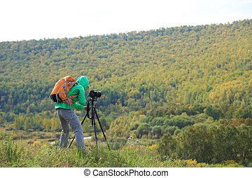 fotograf, aufnahme nehmend, in, schöne , natur