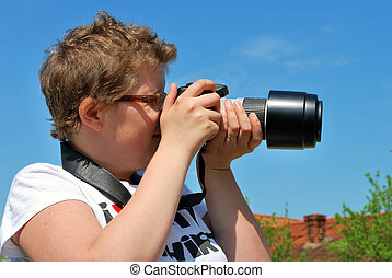 fotograf, dame