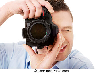 fotograf, dslr, mann