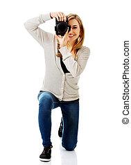 fotograf, frau, dslr