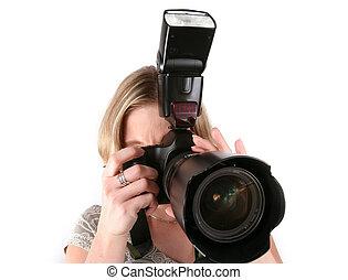 fotograf, frau