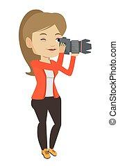 fotograf, illustration., vektor, aufnahme nehmend