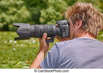 fotograf, in, natur