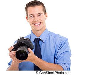 fotograf, junger, hübsch
