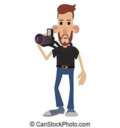 fotograf, karikatur, ikone