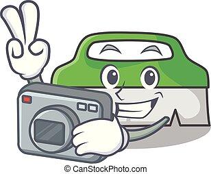 fotograf, maskottchen, schrubben, karikatur, bürste