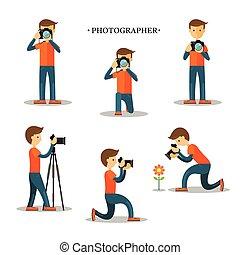 fotograf, med, kamera, i aktion, sätta