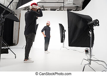 fotograf, modell, studio, arbeitende