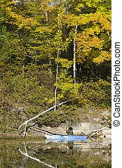 fotograf, na, niejaki, północny, jezioro